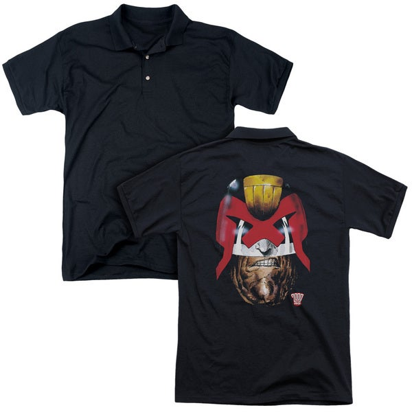 Judge Dredd/Dredd's Head (Back Print) Mens Regular Fit Polo in Black