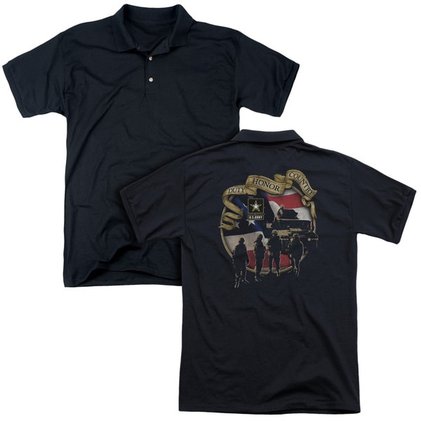 Army/Duty Honor Country (Back Print) Mens Regular Fit Polo in Black