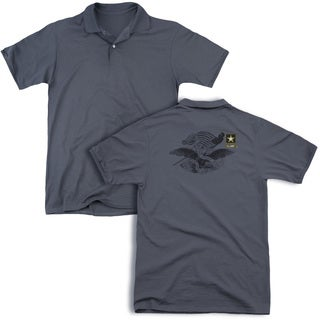 Army/Left Chest (Back Print) Mens Regular Fit Polo in Charcoal