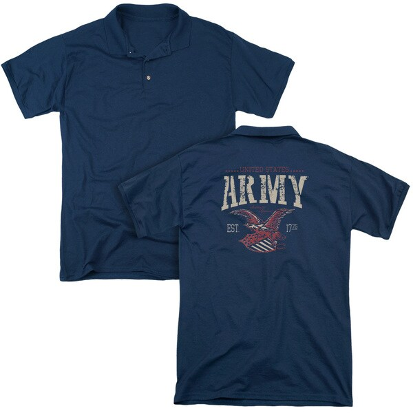 Army/Arch (Back Print) Mens Regular Fit Polo in Navy