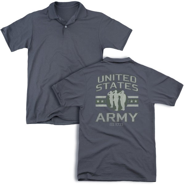 Army/United States Army (Back Print) Mens Regular Fit Polo in Charcoal