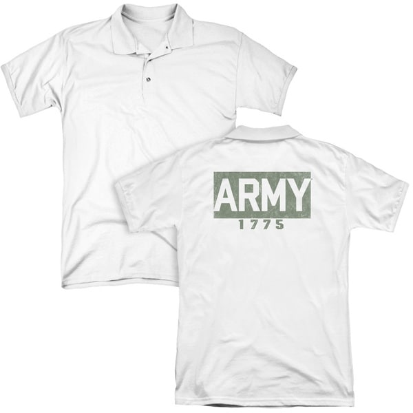 Army/Block (Back Print) Mens Regular Fit Polo in White