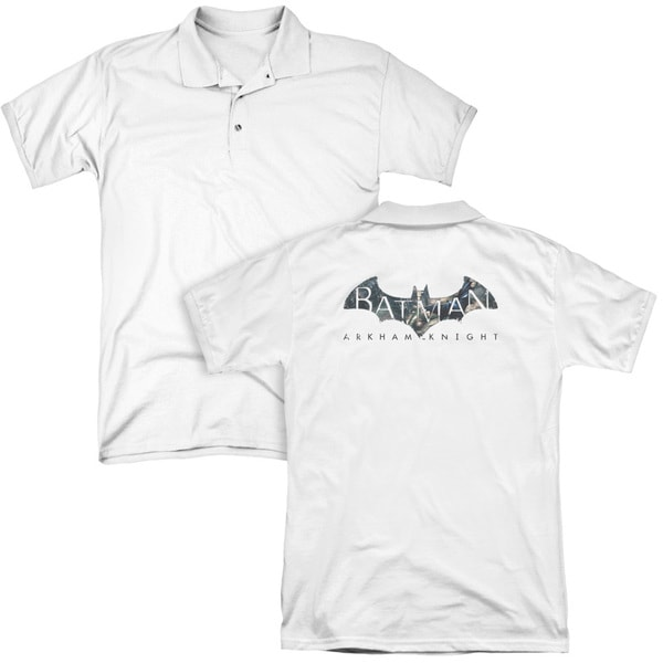 Batman Arkham Knight/Descending Logo (Back Print) Mens Regular Fit Polo in White