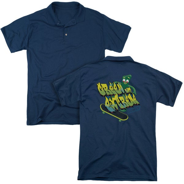 Gumby/Green and Extreme (Back Print) Mens Regular Fit Polo in Navy