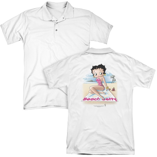 Betty Boop/Beach Betty (Back Print) Mens Regular Fit Polo in White