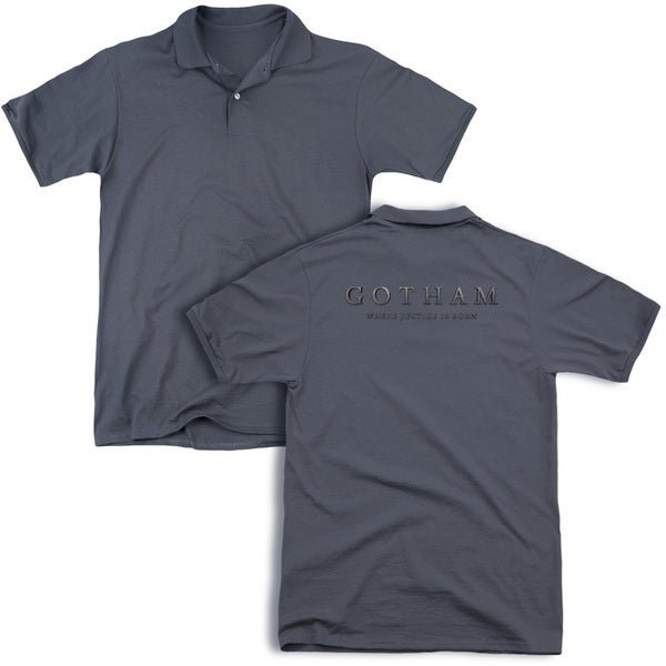 Gotham/Logo (Back Print) Mens Regular Fit Polo in Charcoal