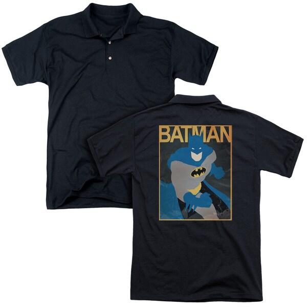 Batman/Simple Bm Poster (Back Print) Mens Regular Fit Polo in Black