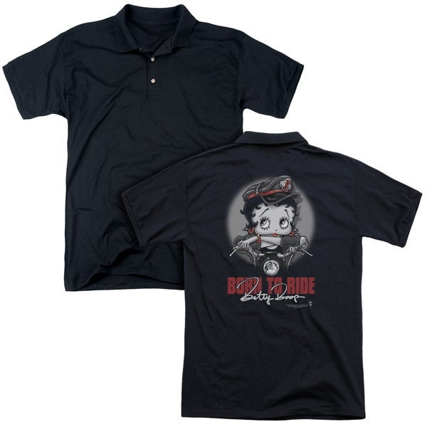 Betty Boop/Born To Ride (Back Print) Mens Regular Fit Polo in Black