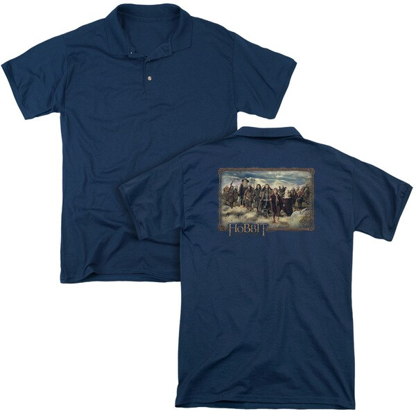 The Hobbit/Hobbit & Company (Back Print) Mens Regular Fit Polo in Navy