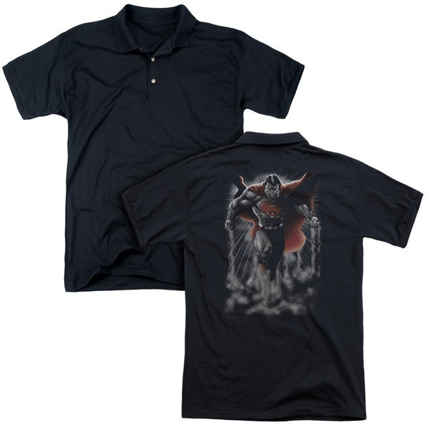 Superman/Above The Clouds (Back Print) Mens Regular Fit Polo in Black
