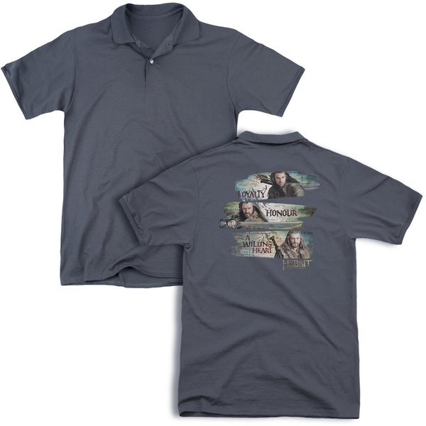 The Hobbit/Loyalty and Honour (Back Print) Mens Regular Fit Polo in Charcoal