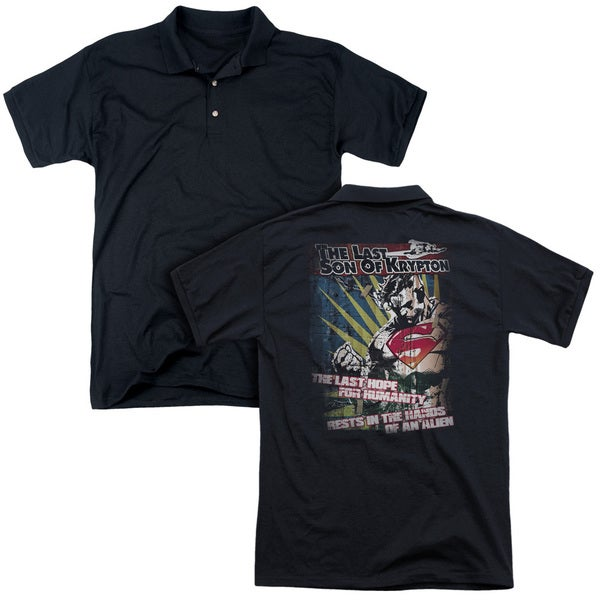 Superman/Last Hope (Back Print) Mens Regular Fit Polo in Black