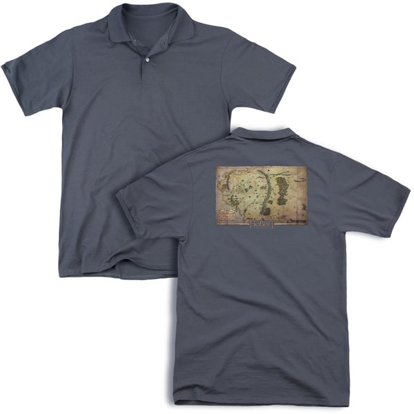 The Hobbit/Middle Earth Map (Back Print) Mens Regular Fit Polo in Charcoal