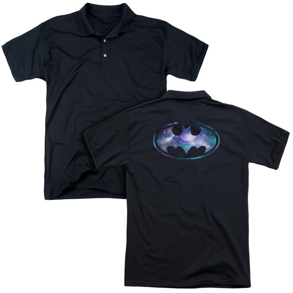 Batman/Galaxy 2 Signal (Back Print) Mens Regular Fit Polo in Black