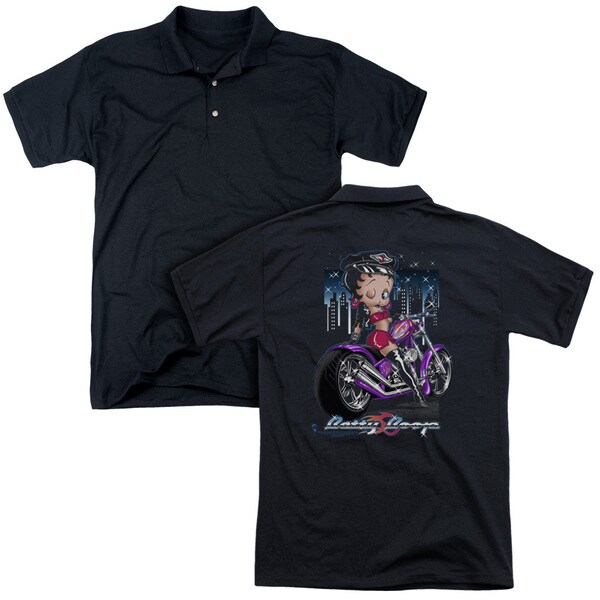 Betty Boop/City Chopper (Back Print) Mens Regular Fit Polo in Black
