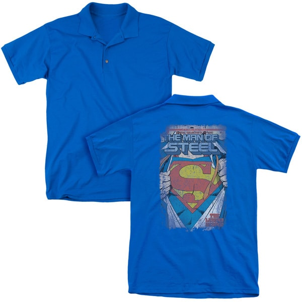 Superman/Legendary (Back Print) Mens Regular Fit Polo in Royal