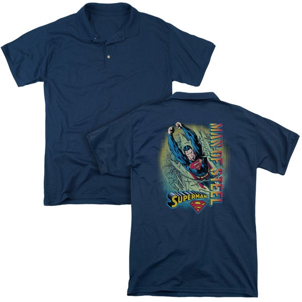 Superman/Breakthrough (Back Print) Mens Regular Fit Polo in Navy
