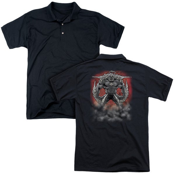 Superman/Doomsday Dust (Back Print) Mens Regular Fit Polo in Black