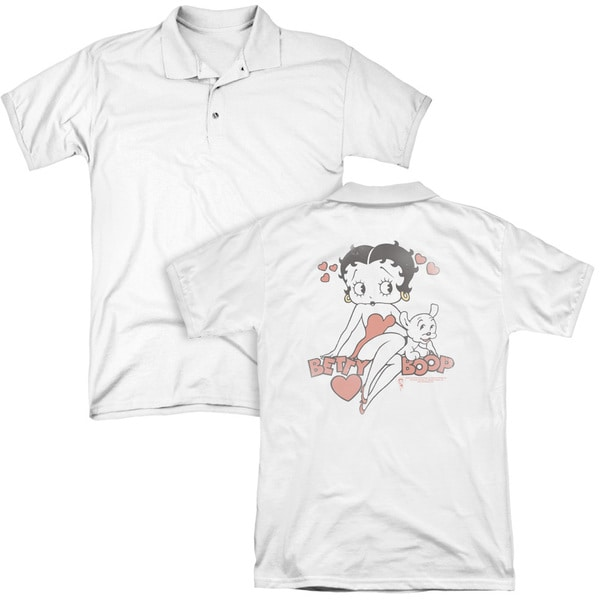 Betty Boop/Classic With Pup (Back Print) Mens Regular Fit Polo in White
