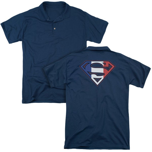 Superman/French Shield (Back Print) Mens Regular Fit Polo in Navy