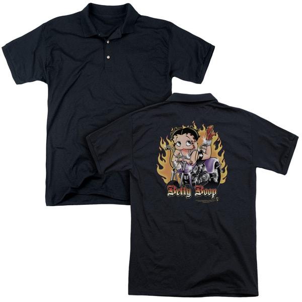Betty Boop/Biker Flames Boop (Back Print) Mens Regular Fit Polo in Black