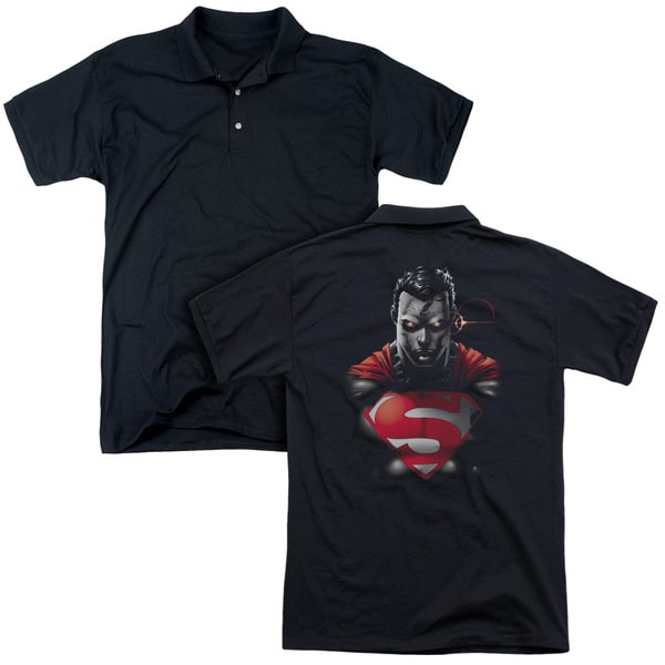 Superman/Heat Vision Charged (Back Print) Mens Regular Fit Polo in Black