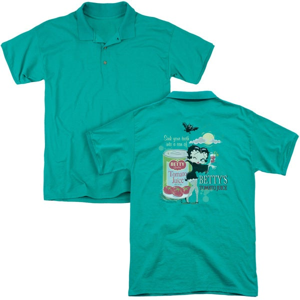 Betty Boop/Vampire Tomato Juice (Back Print) Mens Regular Fit Polo in Kelly Green