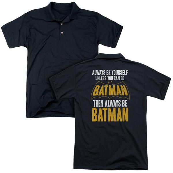 Batman/Be Batman (Back Print) Mens Regular Fit Polo in Black