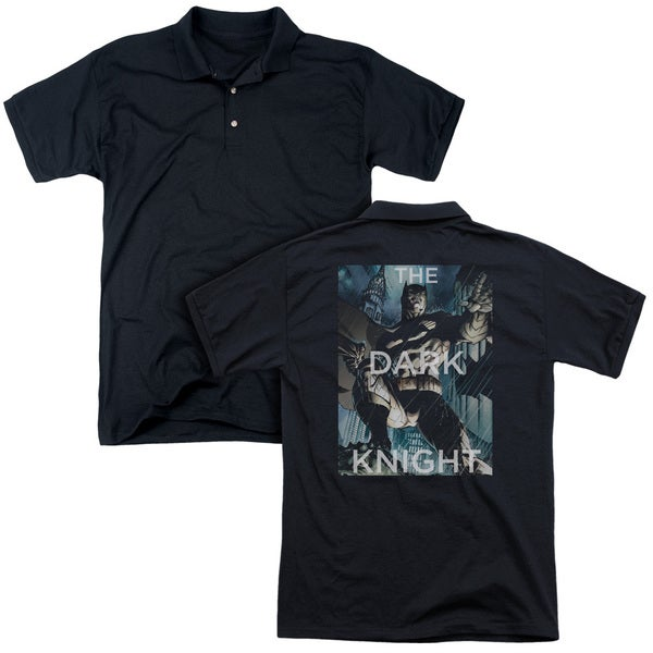 Batman/Fighting The Storm (Back Print) Mens Regular Fit Polo in Black