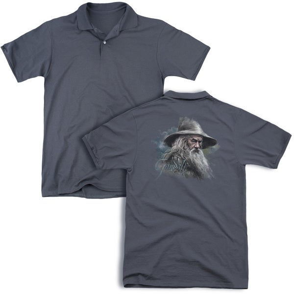 The Hobbit/Gandalf The Grey (Back Print) Mens Regular Fit Polo in Charcoal