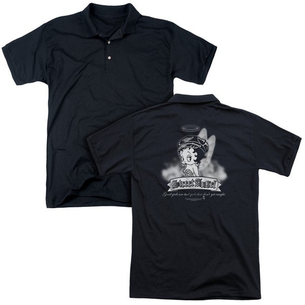 Betty Boop/Street Angel (Back Print) Mens Regular Fit Polo in Black
