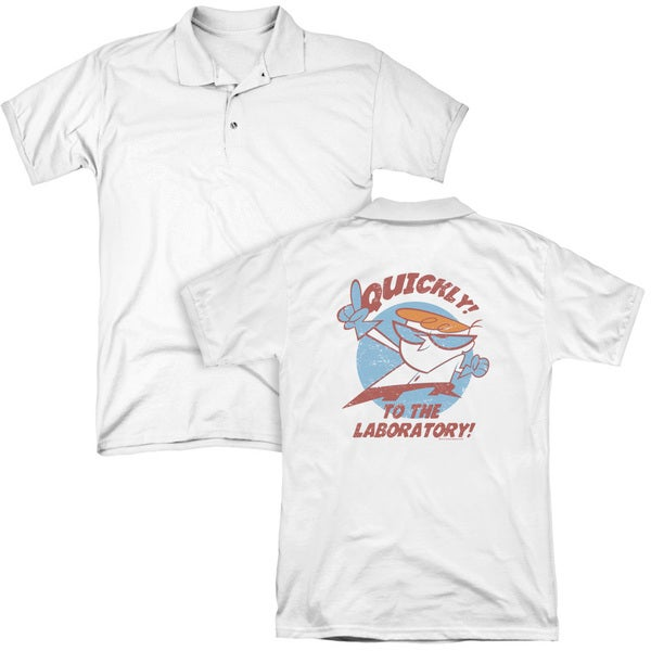 Dexter's Laboratory/Quickly (Back Print) Mens Regular Fit Polo in White