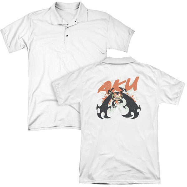 Samurai Jack/Aku Splatter (Back Print) Mens Regular Fit Polo in White