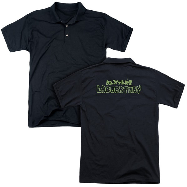 Dexter's Laboratory/Dexter's Logo (Back Print) Mens Regular Fit Polo in Black