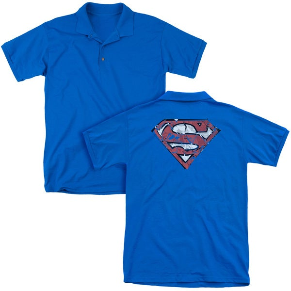 Superman/Ripped and Shredded (Back Print) Mens Regular Fit Polo in Royal