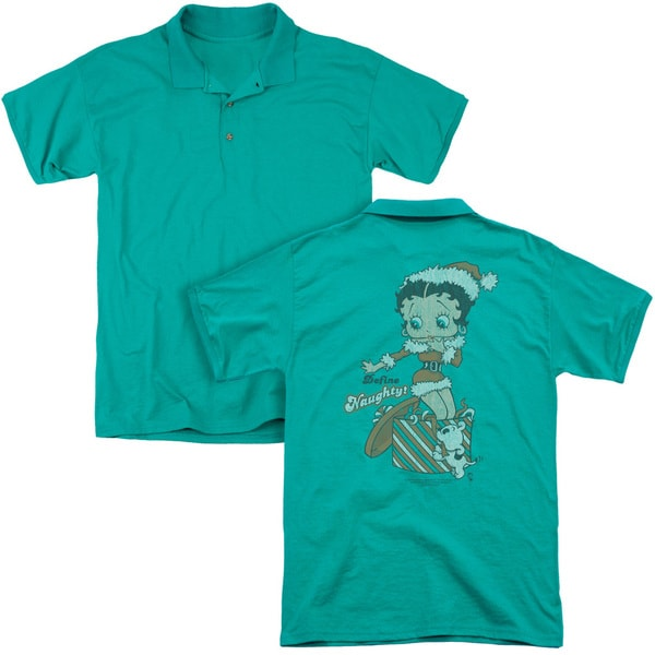 Betty Boop/Define Naughty (Back Print) Mens Regular Fit Polo in Kelly Green