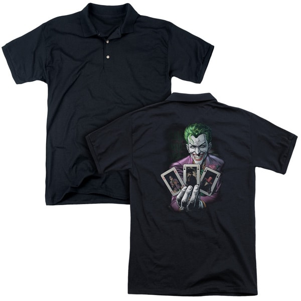 Batman/3 Of A Kind (Back Print) Mens Regular Fit Polo in Black
