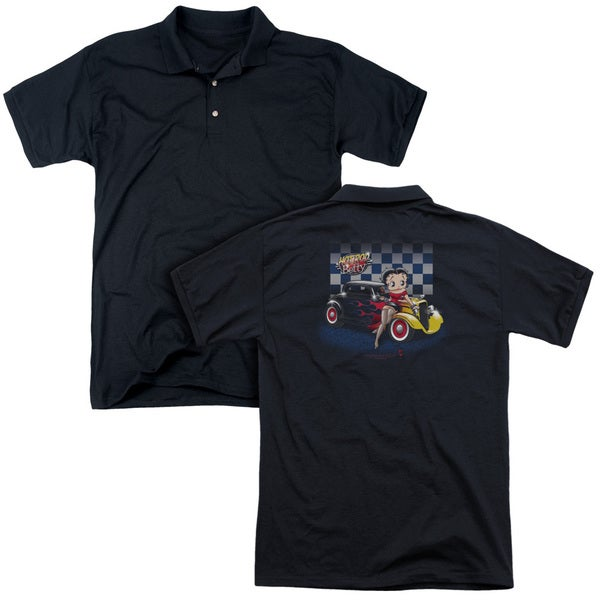 Betty Boop/Hot Rod Boop (Back Print) Mens Regular Fit Polo in Black