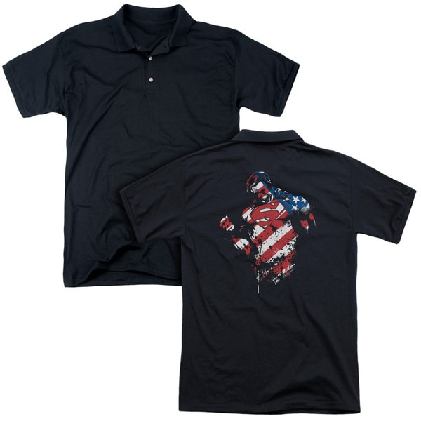Superman/The American Way (Back Print) Mens Regular Fit Polo in Black Md - Black Md