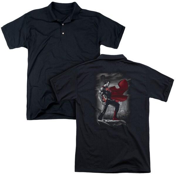 Superman/Metropolis Guardian (Back Print) Mens Regular Fit Polo in Black