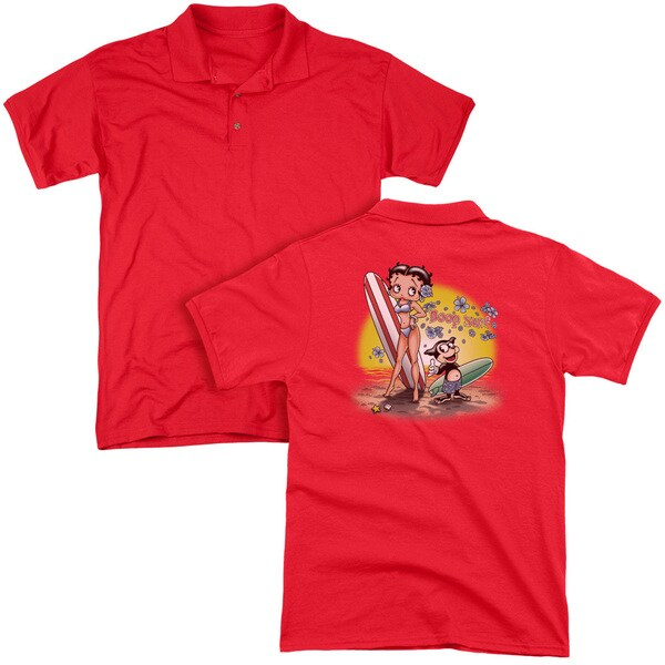 Betty Boop/Surf (Back Print) Mens Regular Fit Polo in Red