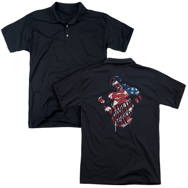 Superman/The American Way (Back Print) Mens Regular Fit Polo in Black