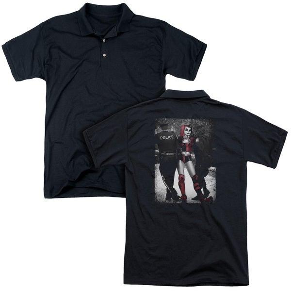 Batman/Arrest (Back Print) Mens Regular Fit Polo in Black
