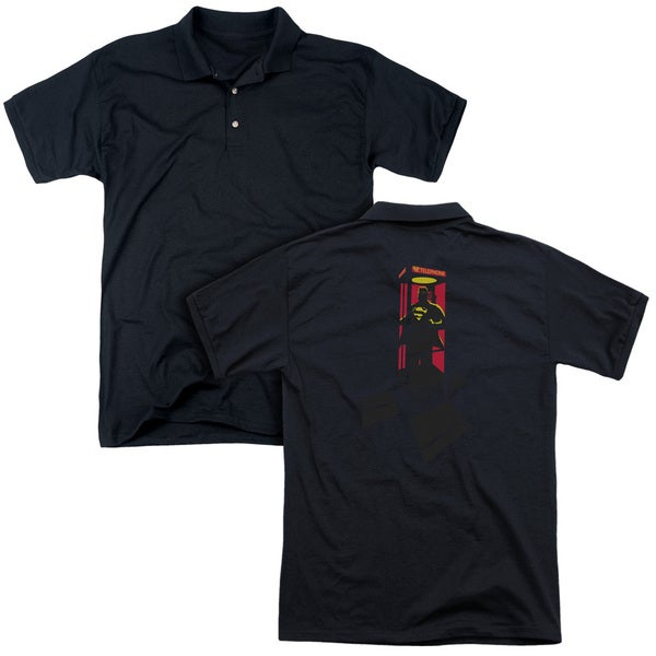 Superman/Super Booth (Back Print) Mens Regular Fit Polo in Black