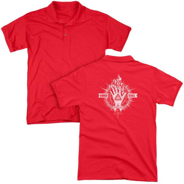 Constantine/Damed To Hell (Back Print) Mens Regular Fit Polo in Red