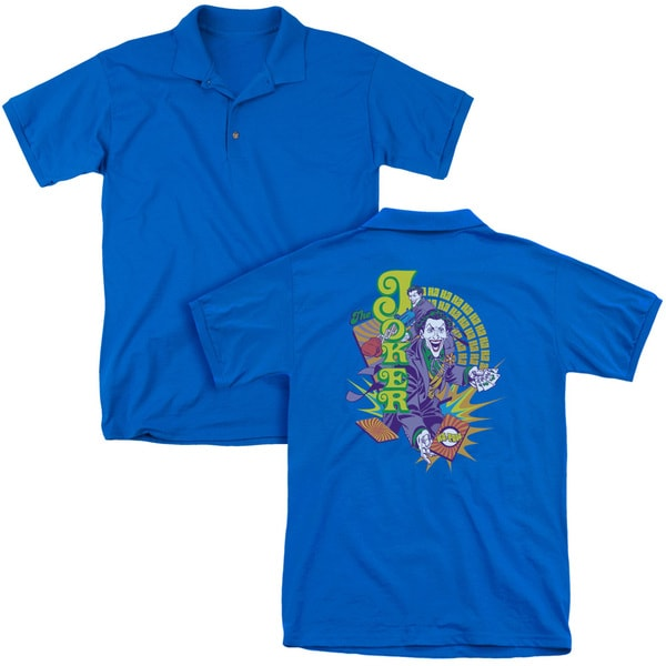 DC/Raw Deal (Back Print) Mens Regular Fit Polo in Royal