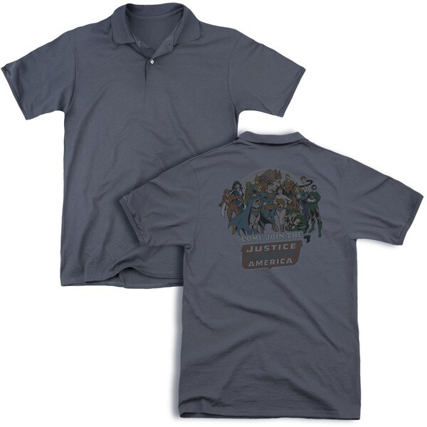 DC/Join The Justice League (Back Print) Mens Regular Fit Polo in Charcoal