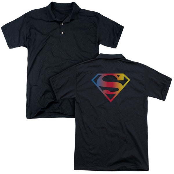 Superman/Gradient Superman Logo (Back Print) Mens Regular Fit Polo in Black