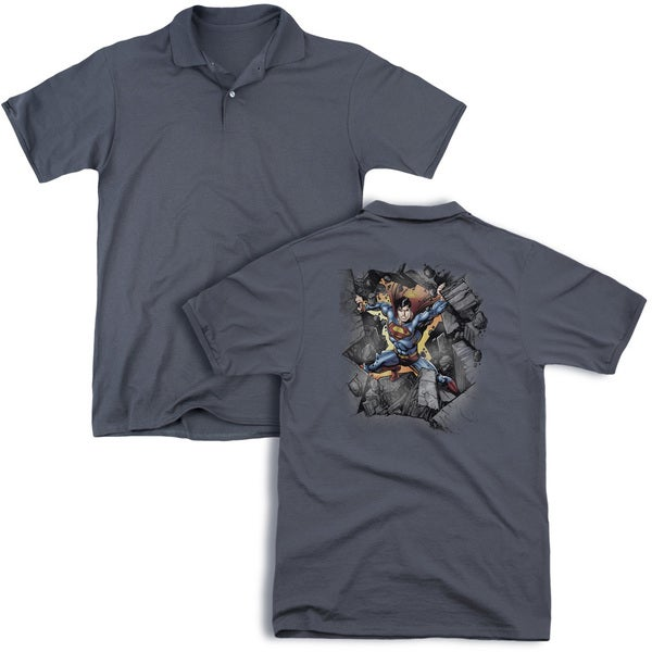 Superman/Break On Through (Back Print) Mens Regular Fit Polo in Charcoal