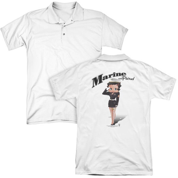 Betty Boop/Marine Boop (Back Print) Mens Regular Fit Polo in White